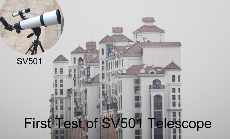 First Test of the SV501 70/420 Telescope